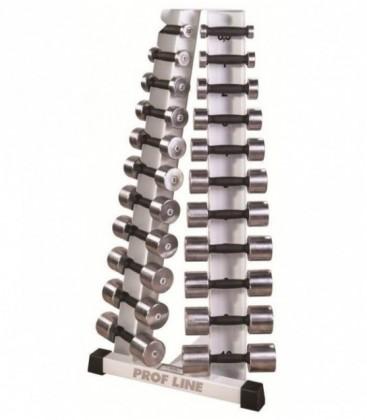 cтойка с набором хромированных гантелей 0.5 до 10 кг